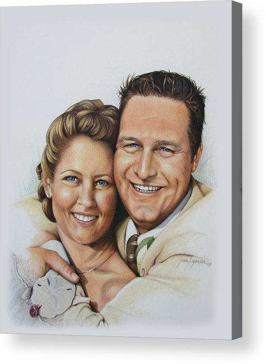 Wedding Portraits Acrylic Print featuring the drawing Wedding Portrait Jeremy N Katie by Joan Garcia
