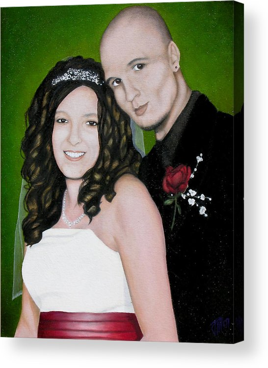 Portrait Acrylic Print featuring the painting Wedding Portrait Of Clint And Ashley by Joe Michelli
