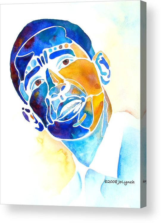 Obama Acrylic Print featuring the painting Whimzical Obama by Jo Lynch