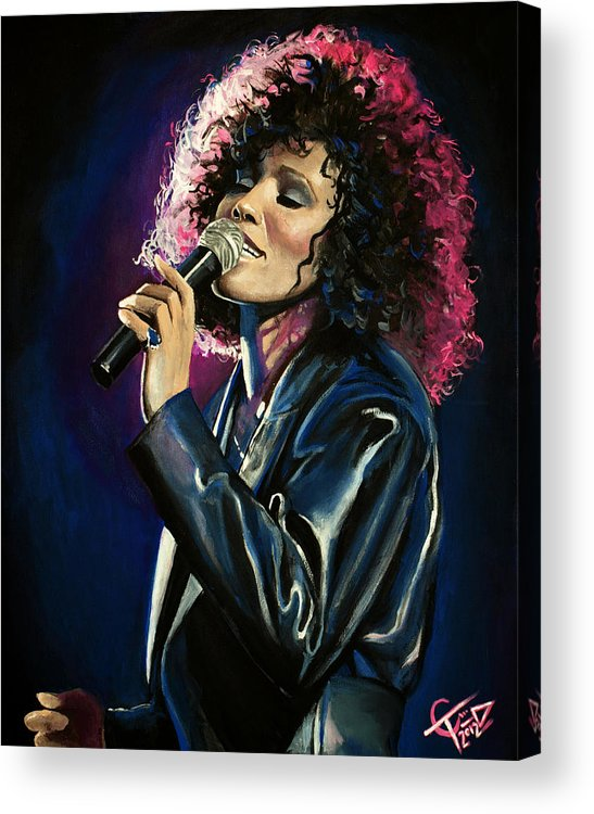 Whitney Houston Acrylic Print featuring the painting Whitney Houston by Tom Carlton