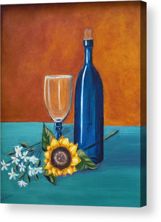 Wine Acrylic Print featuring the painting Wine And Flowers by Nancy Sisco