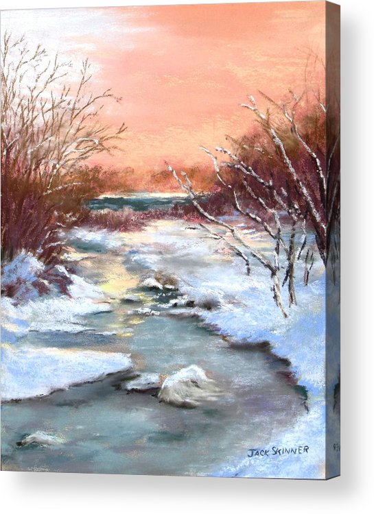 Winter Acrylic Print featuring the painting Winter Brook by Jack Skinner