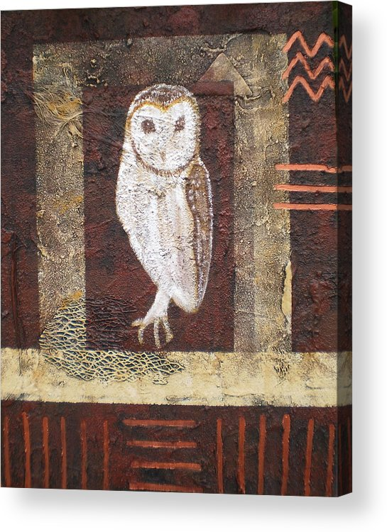 Owl Acrylic Print featuring the painting Wise One by Shirley anne Dunne