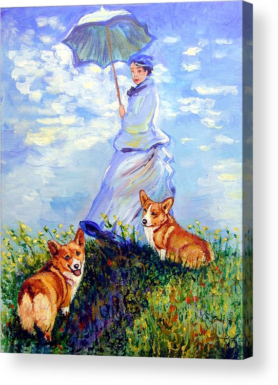 Pembroke Welsh Corgi Acrylic Print featuring the painting Woman With Parasol And Corgis After Monet by Lyn Cook