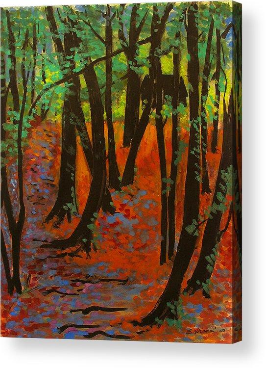 Woodland At Watkins Glen New York Acrylic Print featuring the painting Woodland At Watkins Glen New York by Ethel Vrana