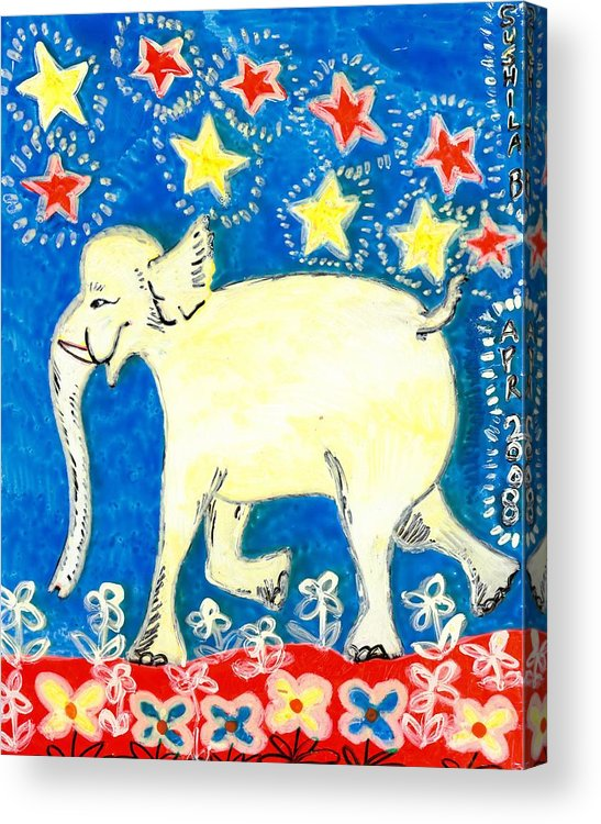 Sue Burgess Acrylic Print featuring the painting Yellow Elephant Facing Left by Sushila Burgess