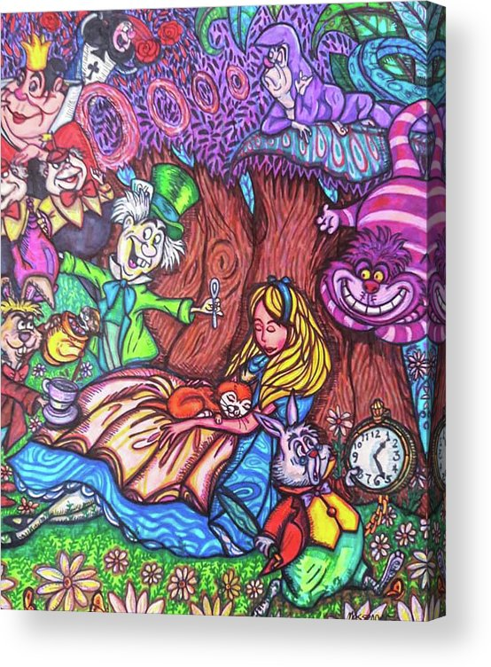 Sharpies Acrylic Print featuring the drawing Alice In Wonderland by Janine Messenger