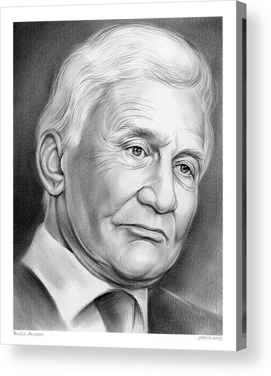Astronaut Acrylic Print featuring the drawing Astronaut Buzz Aldrin by Greg Joens