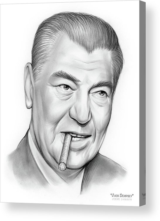 Pencil Acrylic Print featuring the drawing Boxer Jack Dempsey by Greg Joens