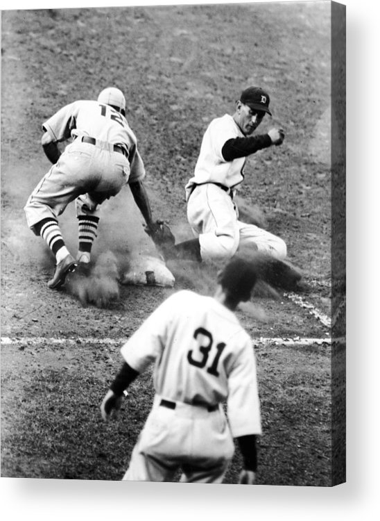 St. Louis Cardinals Acrylic Print featuring the photograph Charlie Gehringer Slides Into First Base by Fpg