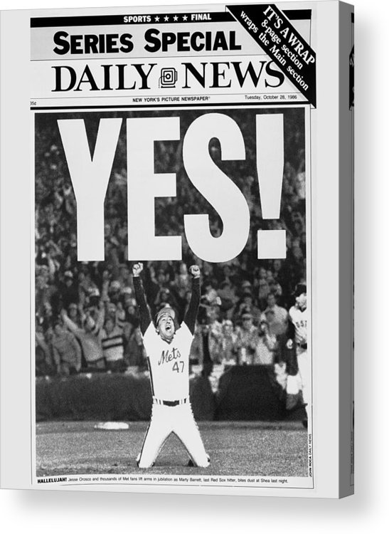 1980-1989 Acrylic Print featuring the photograph Friont Page, Jesse Orosco And Thousands by New York Daily News Archive