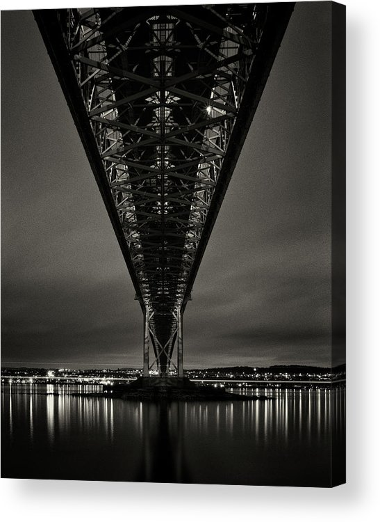 North Queensferry Acrylic Print featuring the photograph Night View Of Forth Road Bridge by Mark Voce Photography