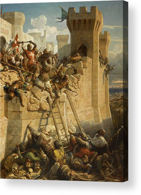 Papety Acrylic Print featuring the painting The Hospitalier Marechal Matthieu De Clermont, Defending The Walls At The Siege Of Acre, 1291 by Dominique Papety