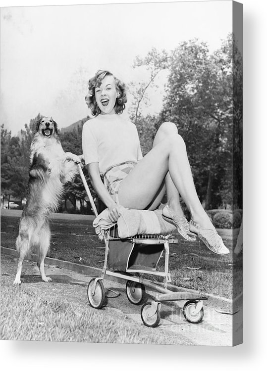 Caucasian Acrylic Print featuring the photograph Young Woman And Her Pushy Pet Dog by Everett Collection
