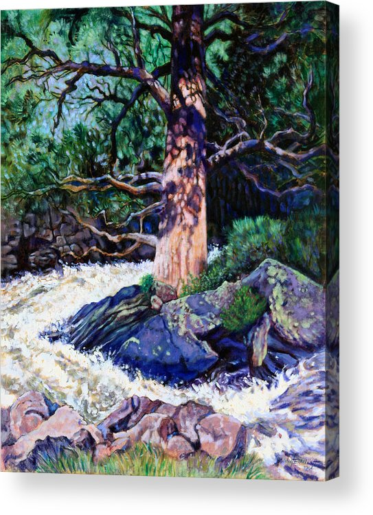 Old Pine Acrylic Print featuring the painting Old Pine In Rushing Stream by John Lautermilch