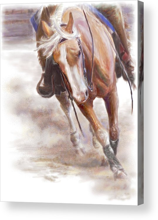 Horse Acrylic Print featuring the painting Reiner's Grace- Western Reining Horse by Connie Moses