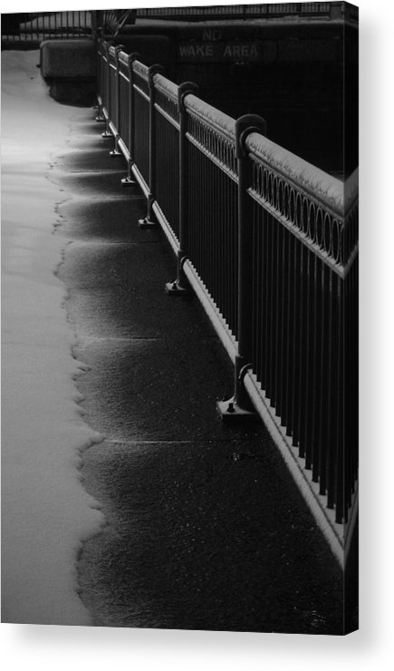 Winter Acrylic Print featuring the photograph Snowy Rail by Eric Workman