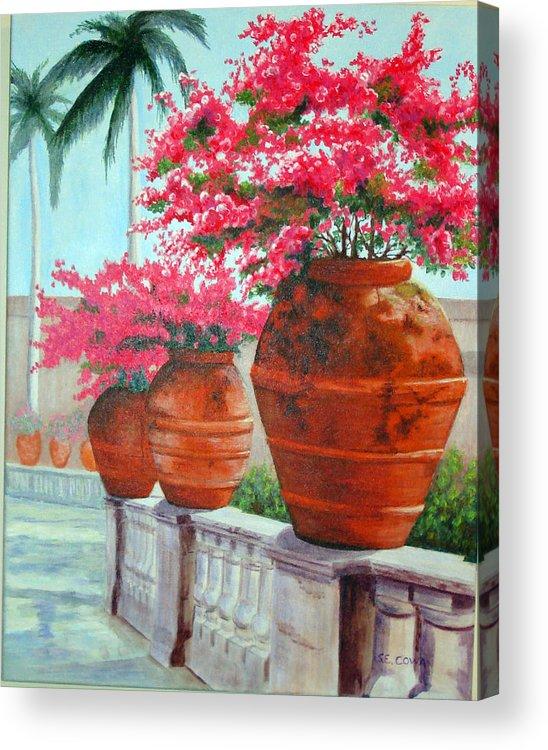 Landscape Acrylic Print featuring the painting Bougainvillea Pots by SueEllen Cowan