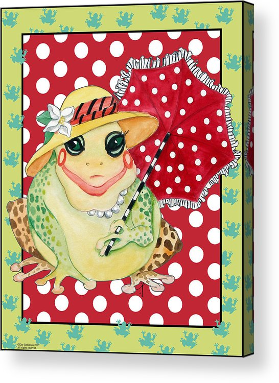Animals Acrylic Print featuring the print Miss Belle Frog by Kay Robinson