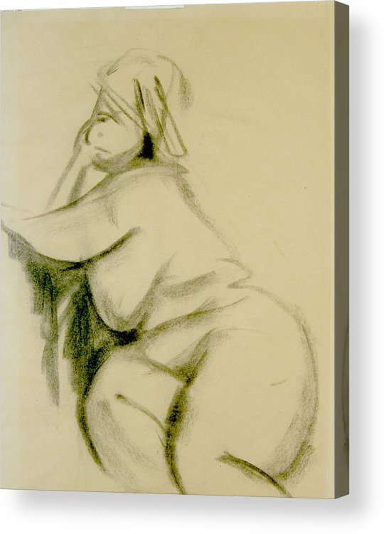 Charcoal Sketch Acrylic Print featuring the print Nude Study by Howard Stroman