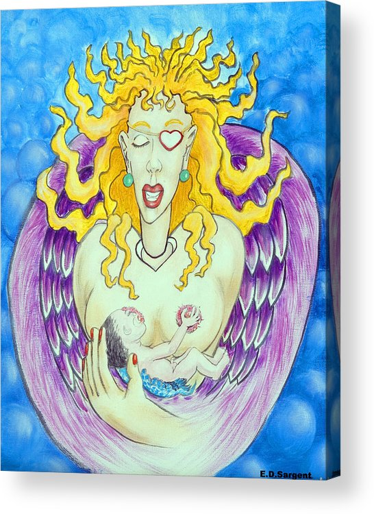Heart Acrylic Print featuring the painting Nursing Angel by Eddie Sargent