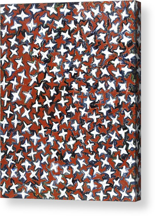 Abstract Stars White Red Pattern Acrylic Print featuring the painting Stars by Joan De Bot