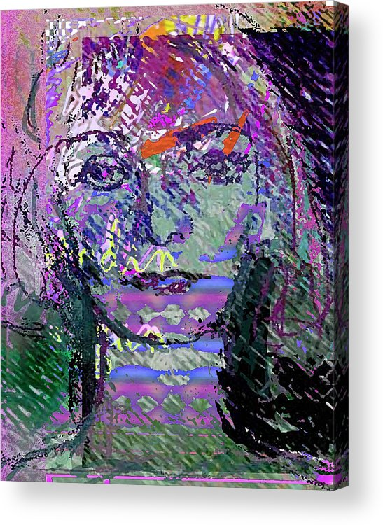 Expression Acrylic Print featuring the mixed media Susazan by Noredin Morgan