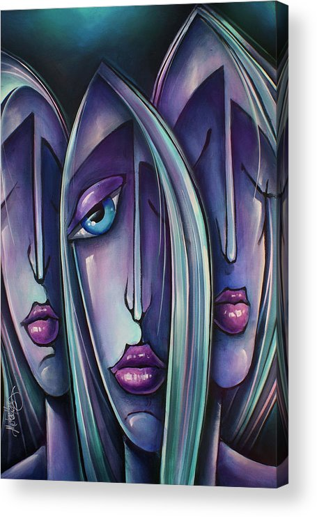 Portrait Acrylic Print featuring the painting ' Trio ' by Michael Lang