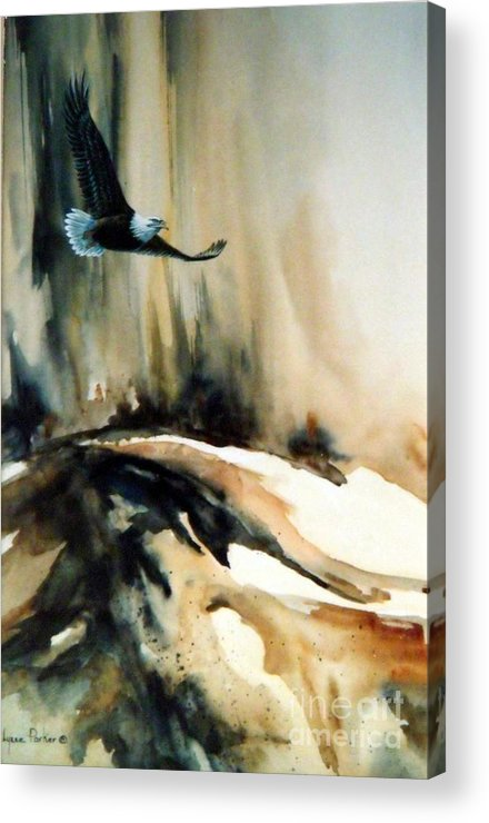 Soaring Eagle Acrylic Print featuring the painting Eagle in Flight by Lynne Parker