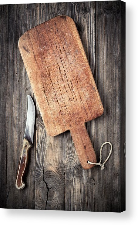 Empty Acrylic Print featuring the photograph Old Cutting Board And Knife by Barcin