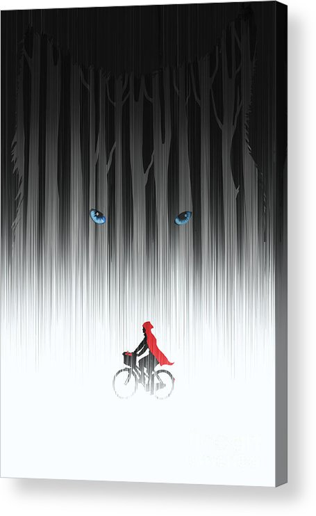 Bicycle Acrylic Print featuring the painting Red Riding Hood by Sassan Filsoof