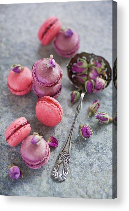 Stuffed Acrylic Print featuring the photograph Rose Macarons by Verdina Anna