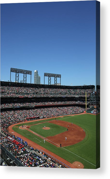 San Francisco Acrylic Print featuring the photograph Los Angeles Dodgers V. San Francisco by Brad Mangin