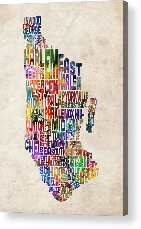 Manhattan Map Acrylic Print featuring the digital art Manhattan New York Typographic Map by Michael Tompsett
