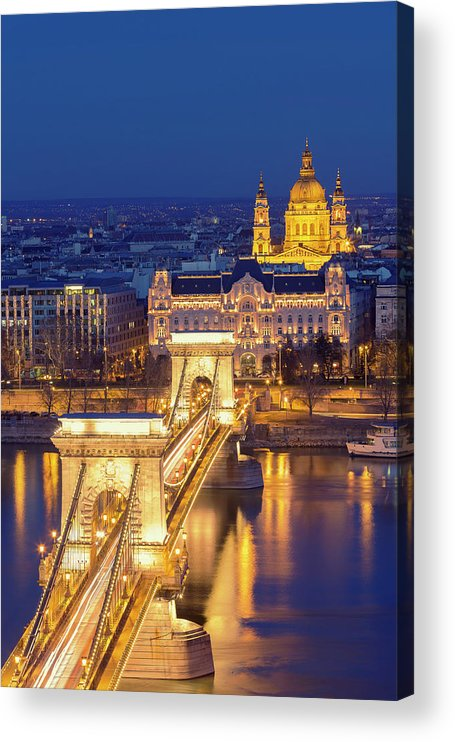 Viewpoint Acrylic Print featuring the photograph The Chain Bridge In Budapest by Ultraforma