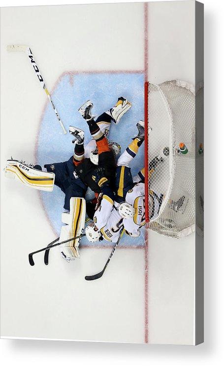 Shea Weber Acrylic Print featuring the photograph Nashville Predators V Anaheim Ducks - by Sean M. Haffey