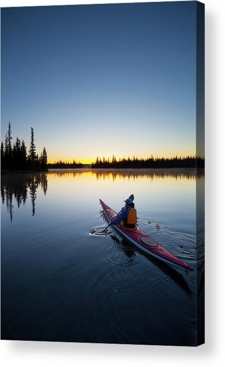 Adventure Acrylic Print featuring the photograph Usa, Oregon A Woman In A Sea Kayak by Gary Luhm