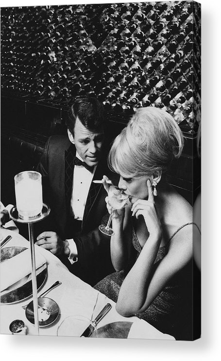 Architecture Acrylic Print featuring the photograph A Glamorous 1960s Couple Dining by Horn & Griner