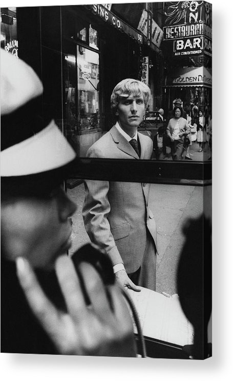 Fashion Acrylic Print featuring the photograph Woman in Telephone Booth Watched By Man by Horn and Griner