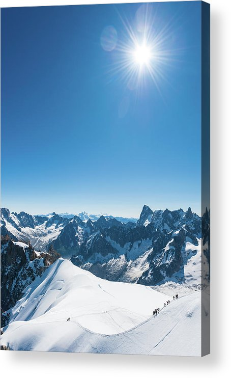 Scenics Acrylic Print featuring the photograph Alps Snow Summit Sunburst Mountaineers by Fotovoyager