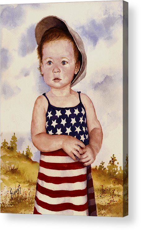 Kid Acrylic Print featuring the painting An All American Girl Named Ireland by Sam Sidders