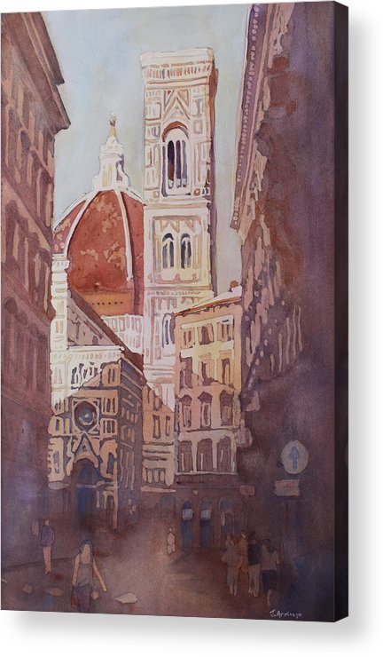 Duomo Campainula Acrylic Print featuring the painting And Suddenly The Duomo by Jenny Armitage