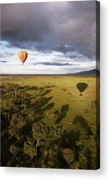 Kenya Acrylic Print featuring the photograph Balloon In Masai Mara National Park by Luis Davilla