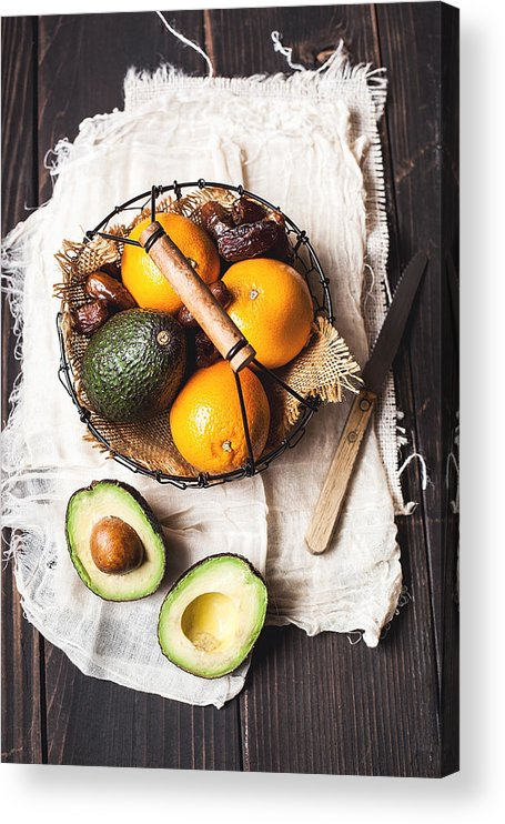 San Francisco Acrylic Print featuring the photograph Basket With Avocado, Oranges And Dates by One Girl In The Kitchen