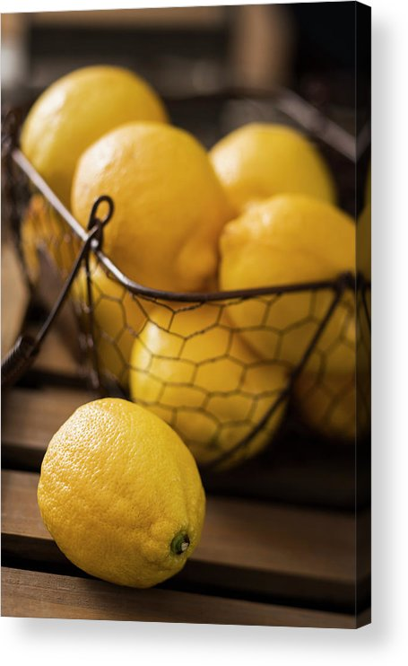 Vitamin C Acrylic Print featuring the photograph Basket With Organic Lemons Fresh From by Gmvozd