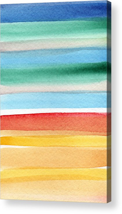 Beach Landscape Painting Acrylic Print featuring the painting Beach Blanket- colorful abstract painting by Linda Woods
