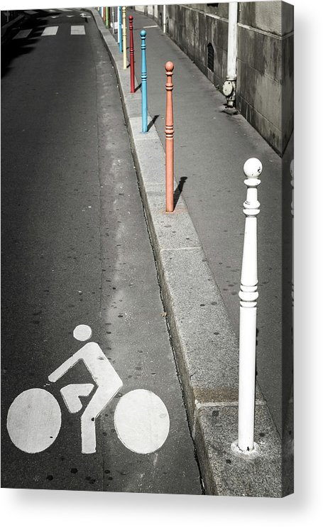 Pole Acrylic Print featuring the photograph Bicycle Symbol In Paris by Carlos Sanchez Pereyra