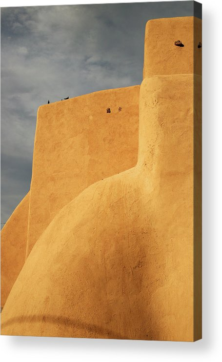 Built Structure Acrylic Print featuring the photograph Birds Perched On A Yellow Building by Win-initiative