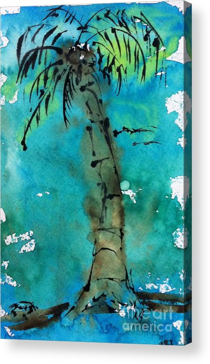 Watercolor Acrylic Print featuring the painting Blue Sky Palm by Norma Gafford