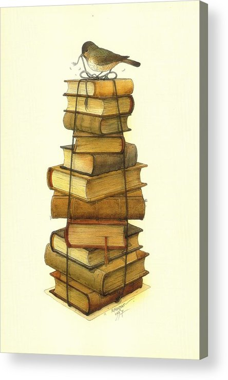 Books Greeting Cards Birds Acrylic Print featuring the painting Books and little Bird by Kestutis Kasparavicius